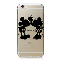 Mickey  & Minnie  Apple iPhone 6 Clear Black Cell Phone Cover