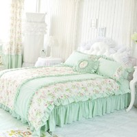 DIAIDI,Korean Style,Light Green Bedding Sets,Princess Rustic Ruffle Comforter Sets,Twin Queen King Bed Set,4Pcs (QUEEN)