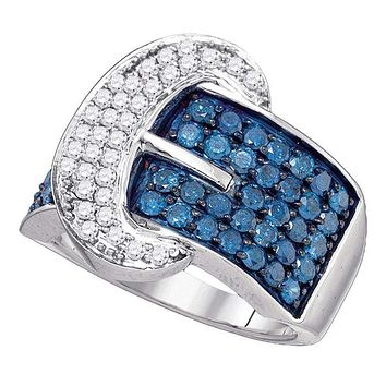 10kt White Gold Women's Round Blue Color Enhanced Diamond Belt Buckle Band Ring 1-7/8 Cttw - FREE Shipping (US/CAN)