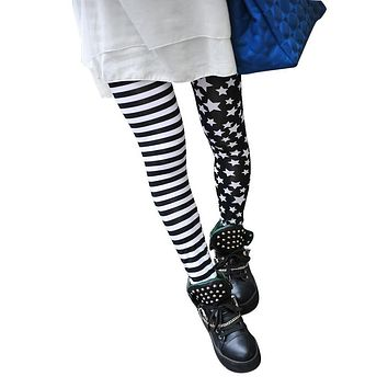 TFGS Woman Leggings Black with Stripes and Stars Pattern White Fashionable
