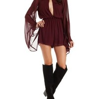 Wine Plunging Extreme Bell Sleeve Chiffon Romper by Charlotte Russe