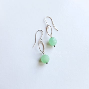 Faceted Mint Droplets Earrings