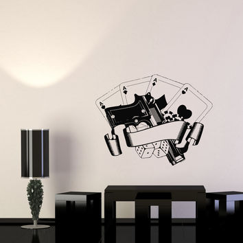 Wall Decal Casino Poker Playing Cards Risk Gun Aces Player Chips Vinyl Sticker Unique Gift (ed641)