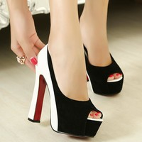 Block Color Peep Toe Platform Stiletto High Heels Sandals