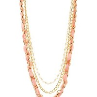 Gold Pearl, Chiffon & Chain Layered Necklace by Charlotte Russe