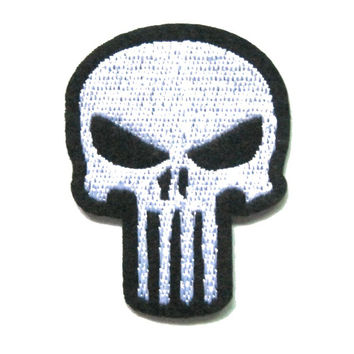 2Pcs Tactical Type Biker Jacket Patches Punishe Skeleton Skull Patch Iron or Sew on 100% Embroidered White/Black