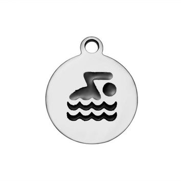 Swimming Pool beach 20pcs/Lot 316L Stainless Steel Charms Swim Bike Run Charms Pendants for Jewelry Making Bracelet Necklace DIY Handmade AccessorySwimming Pool beach KO_14_1