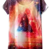 Shiny Galaxy Print Graphic Tee
