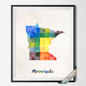 Minnesota, Map, Print, Saint Paul, Home Town, Dorm, Art, USA, Poster, Watercolor, Painting, States, America, Wall Decor, Watercolour [NO 23]