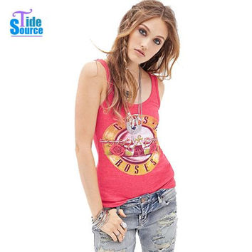 TideSource 2016 Western Fashion Guns N Roses Printed Tank Top Women Summer O Neck Sleeveless Vest Red Slim Casual Fitness Tops