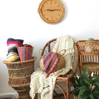 "Unique 15"" Round Wall Clock, Mid Century Woven Rattan and Bamboo Clock, Boho Retro Hanging Clock"