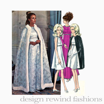 1960s VOGUE DRESS & CAPE Pattern Yves Saint Laurent Evening Cocktail Gown Vogue 1897 Paris Original Designer Vintage Sewing Patterns Size 12