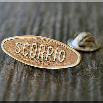 Brass SCORPIO Tie Tac, Lapel Pin, Zodiac Brooch, Gift for Him, Gift Under 10 Dollars, Astrology Sign Pin, Unisex Pin, SCORPIO Pin