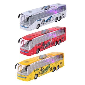 Pull Back Music Bus Metal Diecast Car Model Kids Toy Vehicle Glow in the Dark LED Light Bus Toy Children Xmas Gift
