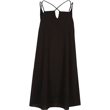 Black cross strap slip dress