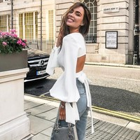 Blouses Women Long Wide Lantern Sleeve White Backless Shirts Female Elegant 2018 Spring Summer Fashion Sexy Tops Plus Size