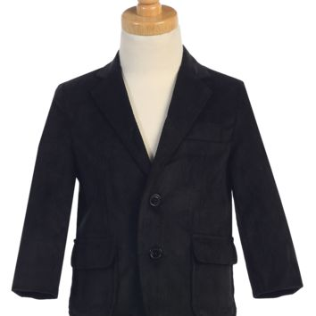 Black Corduroy Blazer Jacket Single Breasted 2 Button Closure (Boys from 18 months to size 14)