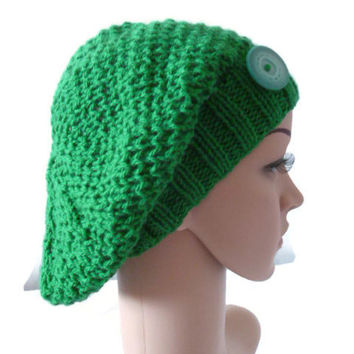 Womens Knit Slouchy Beanie, Hat with Button, Green Hat, Green Slouchy Hat, Spring Hat, Spring Accessory