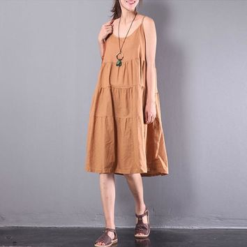 Strappy Pleated Cotton Beach Dress