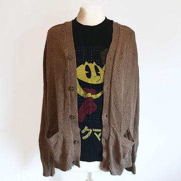 Vintage Knightsbridge Sweater, Speckled Brown Sweater, 90s Grunge, Minimalist, Cardigan Sweater, Unisex Sweater, Large