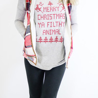 Merry Christmas Ya Filthy Animal Heather Gray Tunic Top