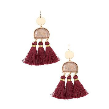 Scratched stone dangle tassel earring