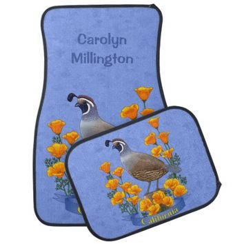 California State Bird Quail & Golden Poppy Car Mat