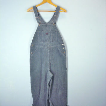 80s Overalls Gray Corduroy Union Bay Suspenders Carpenter Small