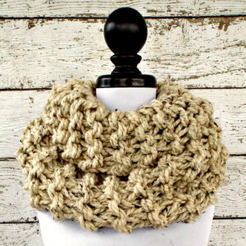 Circle Scarf Oversized Cowl Chunky Knit Cowl Chunky Scarf - Highlands Cowl Oatmeal Cowl Oatmeal Scarf Womens Accessories - READY TO SHIP