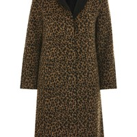 Buttoned Seam Leopard Print Coat - New In Fashion - New In