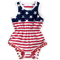 new 2017 Baby outfits american flag Patriotic girl romper newborn kids 4th of july rompers baby jumpersuits girls clothes