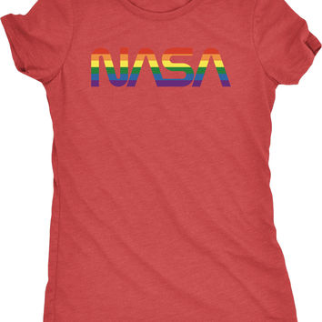 NASA Pride Worm Logo Womens Tri-Blend T-Shirt