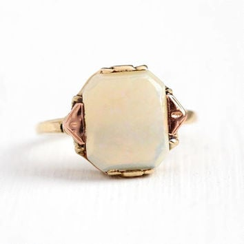 Vintage Opal Ring - 10k Yellow & Rose Gold 1.9 Carat Genuine Jelly Gemstone - Size 8 1940s Two Tone Fine October Birthstone Jewelry