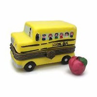 Porcelain School Bus Trinket Box - Miniature Red Apple Inside - Teacher Gift