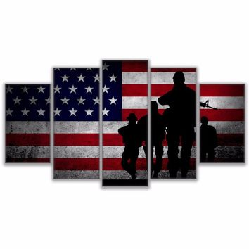 US American Flag With Soldiers Soldier Silhouette Military Wall Art Canvas Panel
