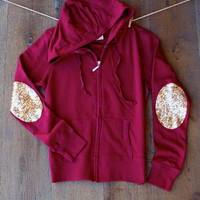 Sequin Elbow Patch Zip Up Hoddie Sweatshirt -  Elbow Patch Sweatshirt Burgundy Sparkly Elbow Patch Gift Ideas for Her Women Teens