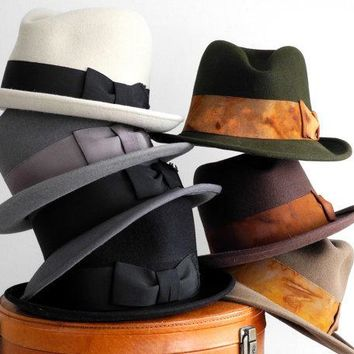 Mens Felt Fedora Hat  Mad Men  Men's Hat  Open Crown Fedora