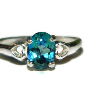 Middle Finger Ring, Low Profile, Neptunes Garden Topaz Ring, Deep Blue Oval Stone