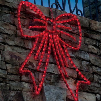"""36"""" Lighted Red Wire Frame Bow Silhouette Hanging Christmas Decoration"""