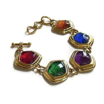 Avon Molded Glass Cabochons Link Bracelet Vintage Multi-Color