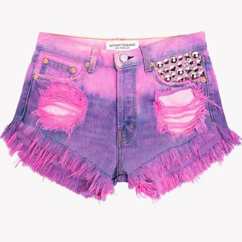 Jewels Hot Pink Ombre Studded Shorts