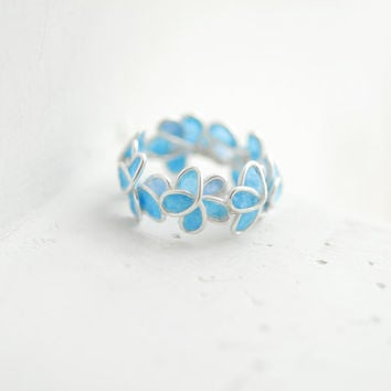 Pale Blue Forget Me Not Flower Ring, Wedding Anniversary Sterling Silver Artisan Eco Friendly Paper Jewelry...