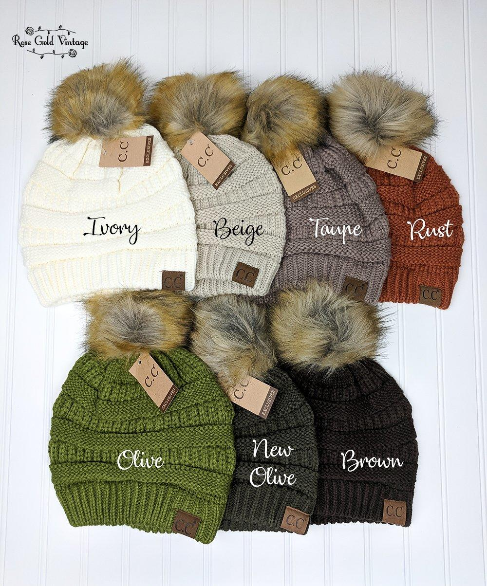 71d32d5c6b554 Fur Pom Pom CC Beanie Hats from Rose Gold Vintage