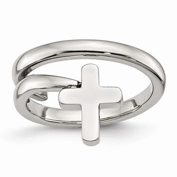 Men's Stainless Steel Twisted Cross Polished Ring
