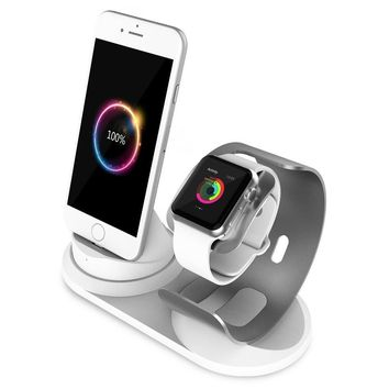 Apple Watch Stand Aluminum [2 in 1 Charger Stand] iPhone Charging Dock stand for Apple Watch Series 3 2 1 42/38mm,iPhone X 10 8 7 6 6S 5 SE Plus/ iPad Accessories with Lightning Cable