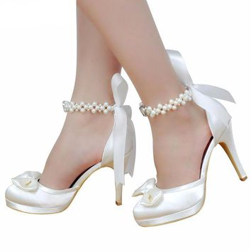 Women's Ivory White High Heel Round Toe Pearl Ankle Strap Bow Satin Shoes