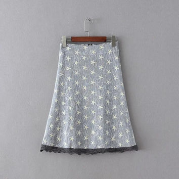Gray Mesh Star Embroidery Lace Patchwork A-line Skirt