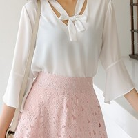 Sool Liven Ribbon V Neck Blouse