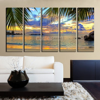 Framed Large Wall Art Canvas Palm Leafs and Footprints on Beach with Colorful Sky