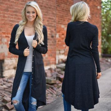Super long black button front cardigan high low sweater